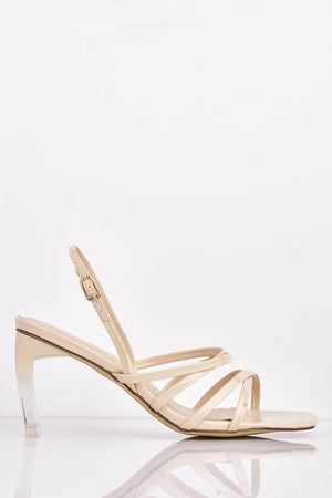 Nude Patent Square Heels with Perspex Heel