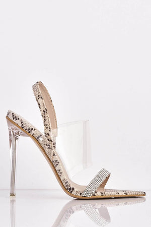 Nude Snake Dagger Heels with Perspex & Diamante Strap