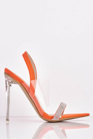 Neon Orange Daggers with Perspex & Diamantes