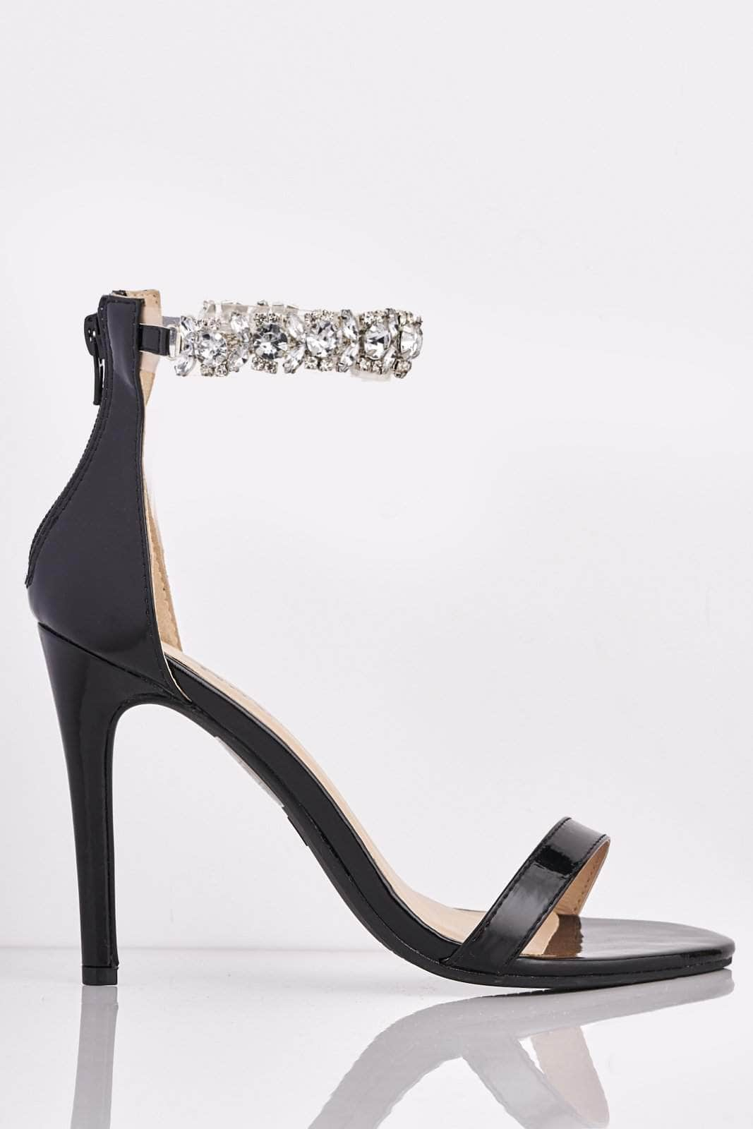 Black Patent Heels with Diamante Embellished Strap