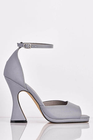 Grey Reflective Square Toe Mid Flare Heels