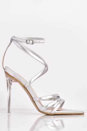 Silver Patent Dagger Heels with Perspex Heel