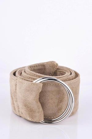 Mink Suedette D Ring Belt