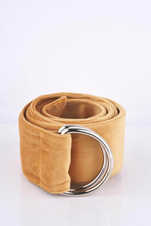 Mustard Suedette D Ring Belt
