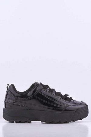 Black Patent Chunky Trainers
