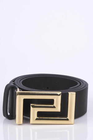 Black Metal Aztec Buckle Belt
