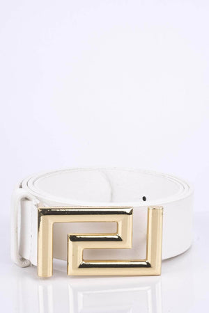 White Metal Aztec Buckle Belt