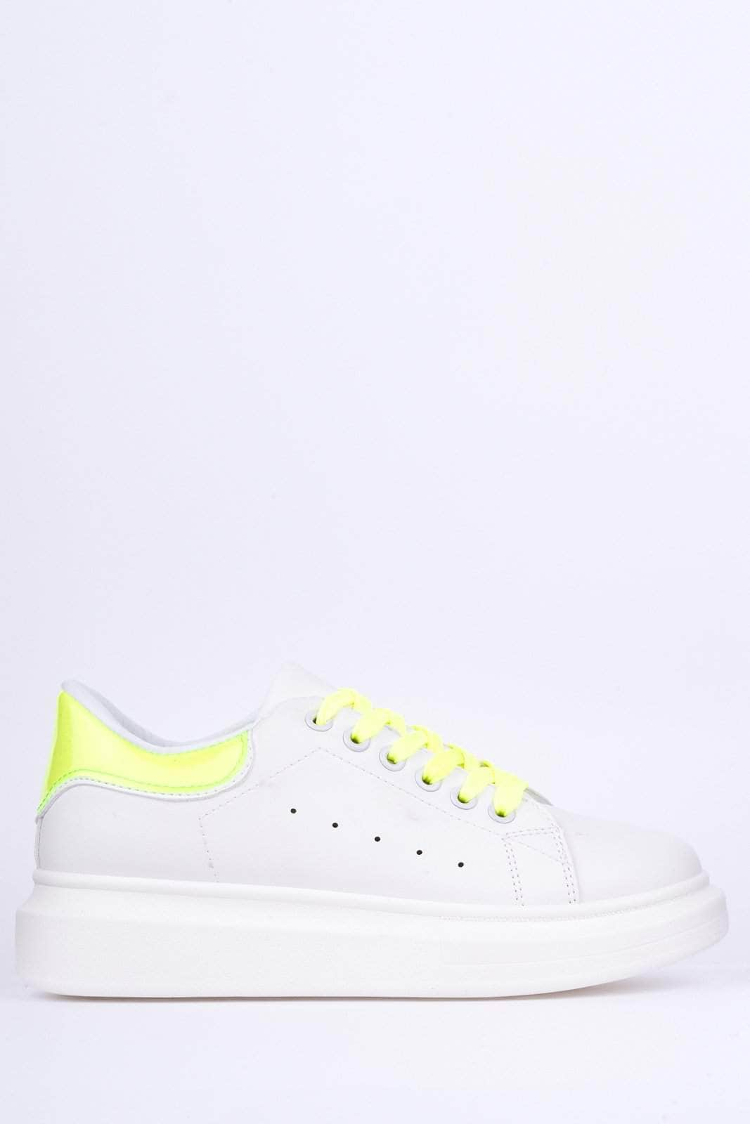 White & Neon Transparent Flatform Trainers