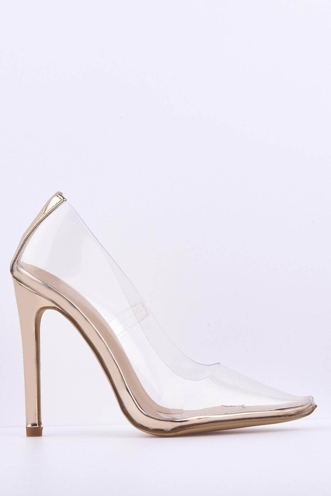 Rose Gold Perspex Court Heels