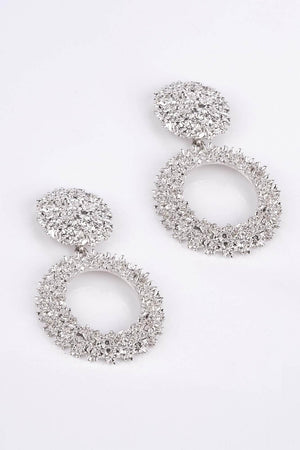 Silver Textured Circle Door Knocker Earrings
