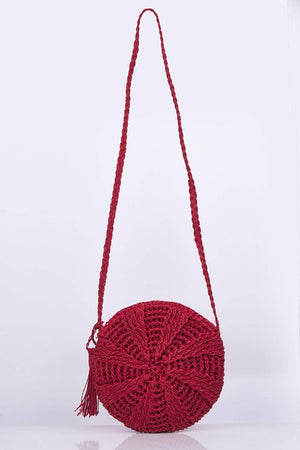 Red Circle Straw Cross Body Bag