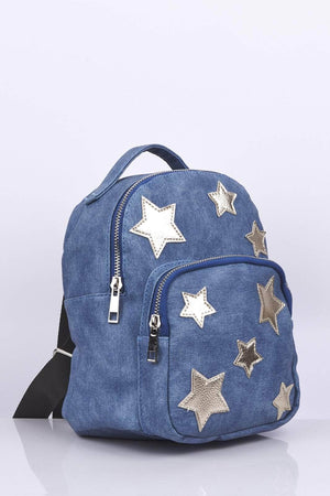 Denim Star Printed Backpack