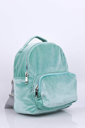 Mint Mini Velvet Backpack