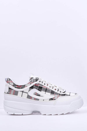 Checked Vinyl White Chunky Trainers