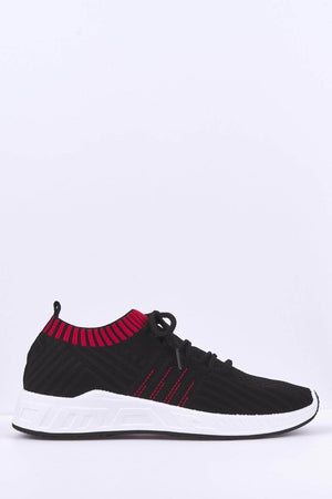 Black & Red Knit Stretch Trainers