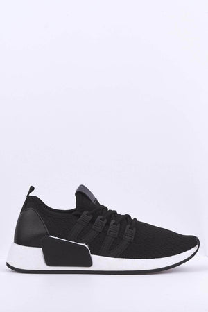 Black PU Knit Stretch Trainers