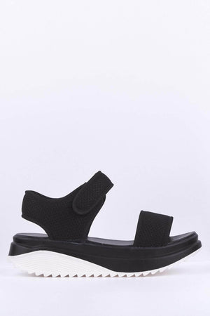 Black Chunky Sports Flatform Sandals