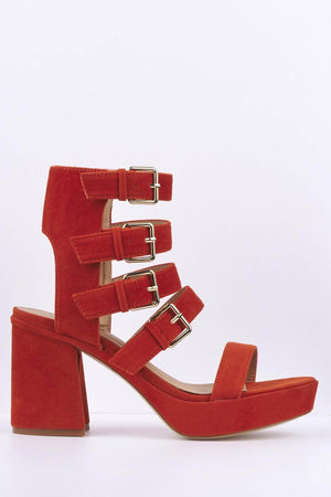 Orange Suede Buckled Platform Heels