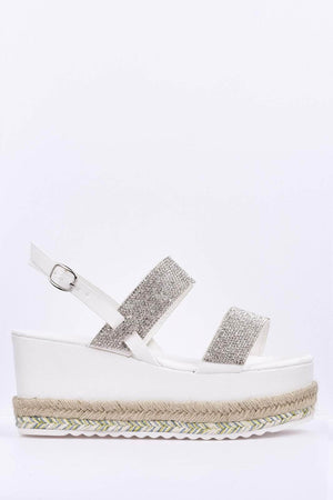 White Diamante Espadrille Flatform Sandals