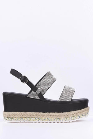 Black Diamante Espadrille Flatform Sandals
