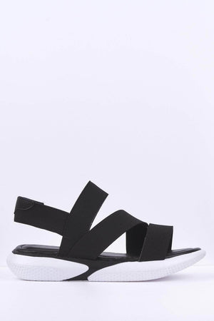 Black Elasticated Flatform Sports Sandals