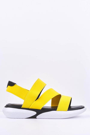 Yellow Elasticated Flatform Sports Sandals