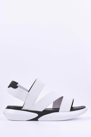 White Elasticated Flatform Sports Sandals