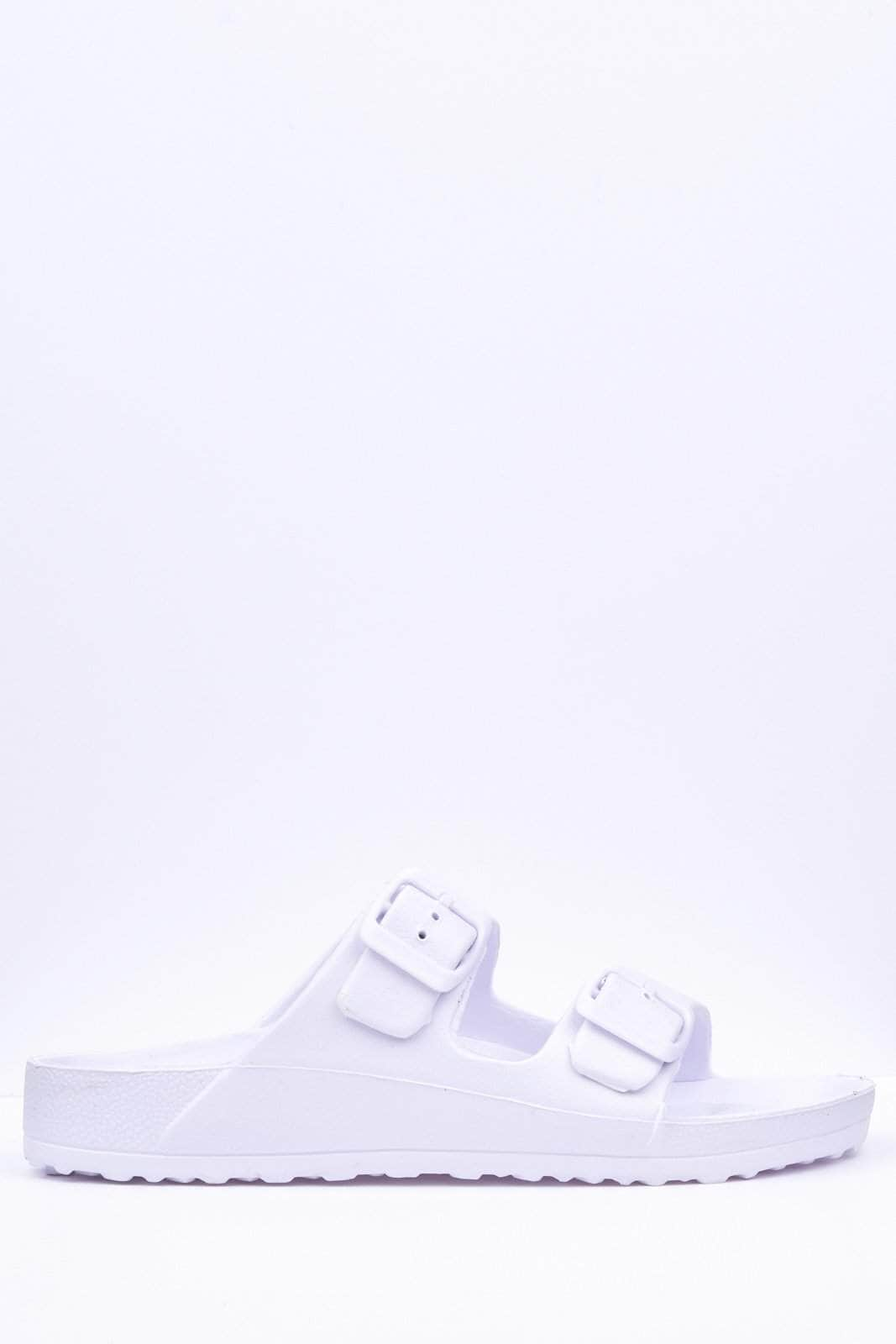 White Buckle Sliders