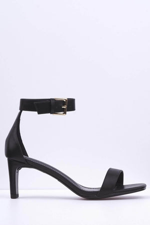 Black Pu Square Low Heel Sandal