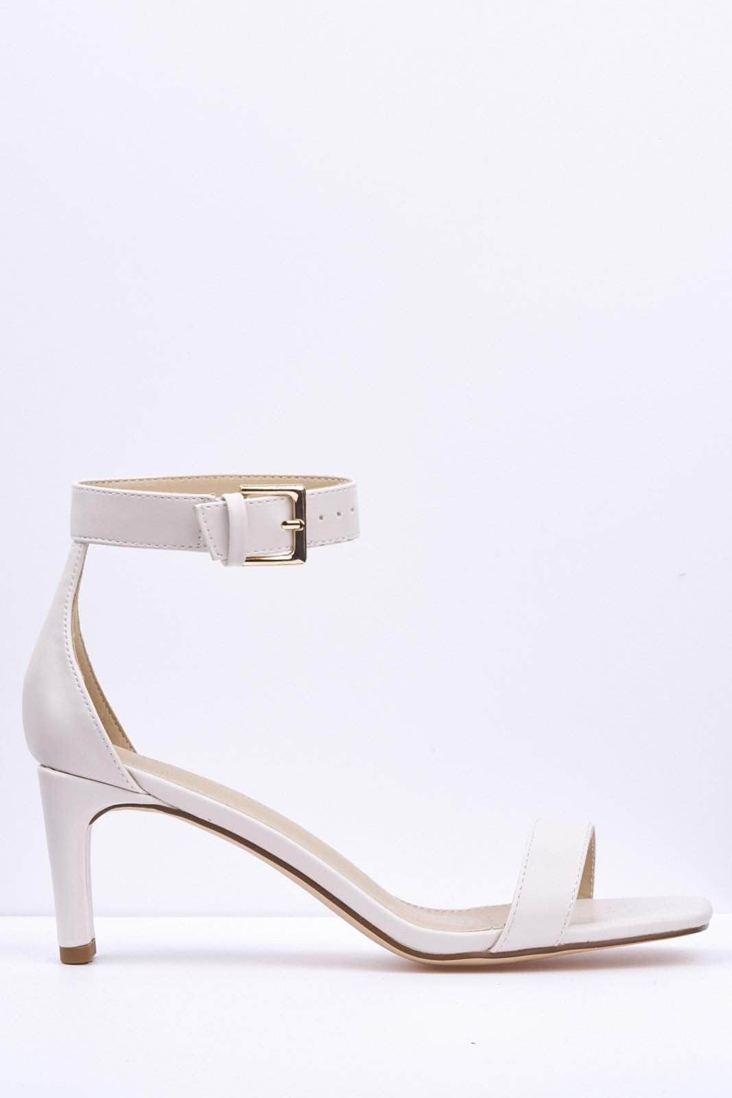 White Pu Square Low Heel Sandal