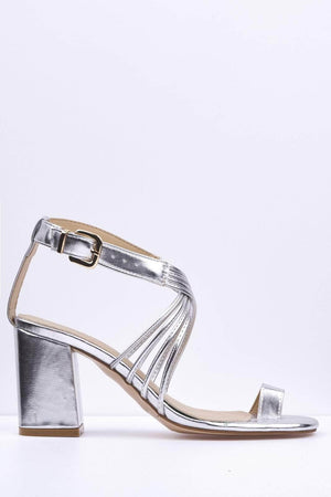 Silver Metallic Pu Cross Over Strap Mules