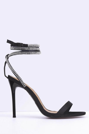 Black Diamante Ankle Tie Sandals
