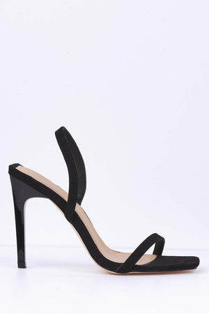 Black Suede Square Toe Sling Back Heels