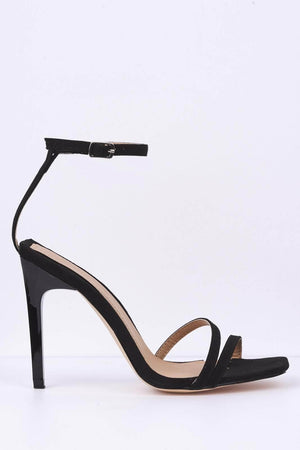 Black Suede Square Toe Shiny Heel