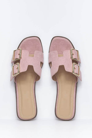 Pink Suede H Buckled Flat Sliders