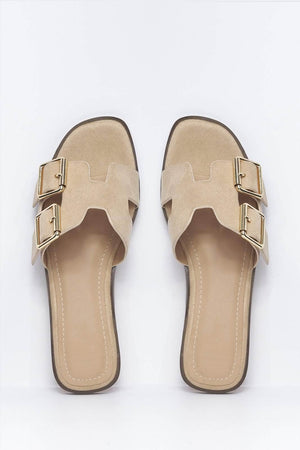 Nude Suede H Buckled Flat Sliders