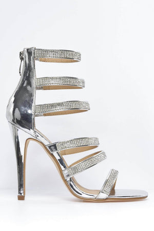 Silver Metallic Strappy Diamante Heels