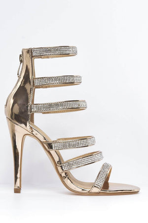Rose Gold Metallic Strappy Diamante Heels
