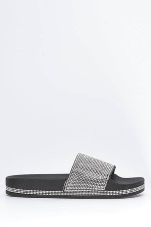 Black Diamante Embellished Sliders