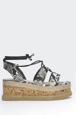 Black & Grey Snake Pu Cork Espadrille Sandals
