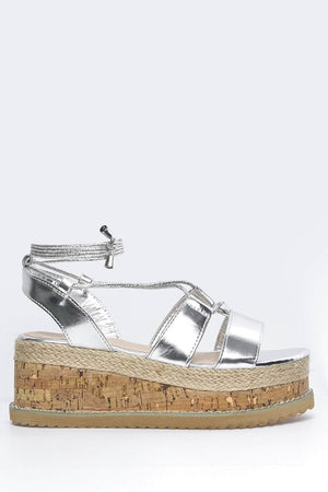 Silver Cut Out Cork Esapdrille Sandals