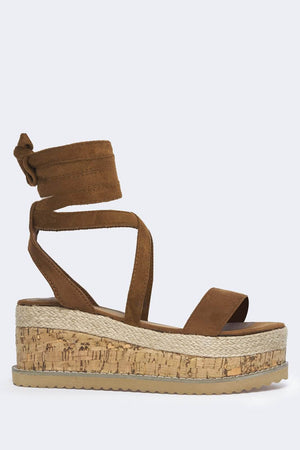 Brown Suede Flatform Espadrille Sandals