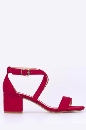 Red Suede Cross Over Sandal