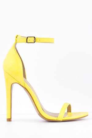 Yellow Pu Barely There Heels