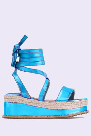 Metallic Blue Holographic Flatform Espadrille Sandals