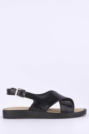 Black Cross Over Flat Sandals