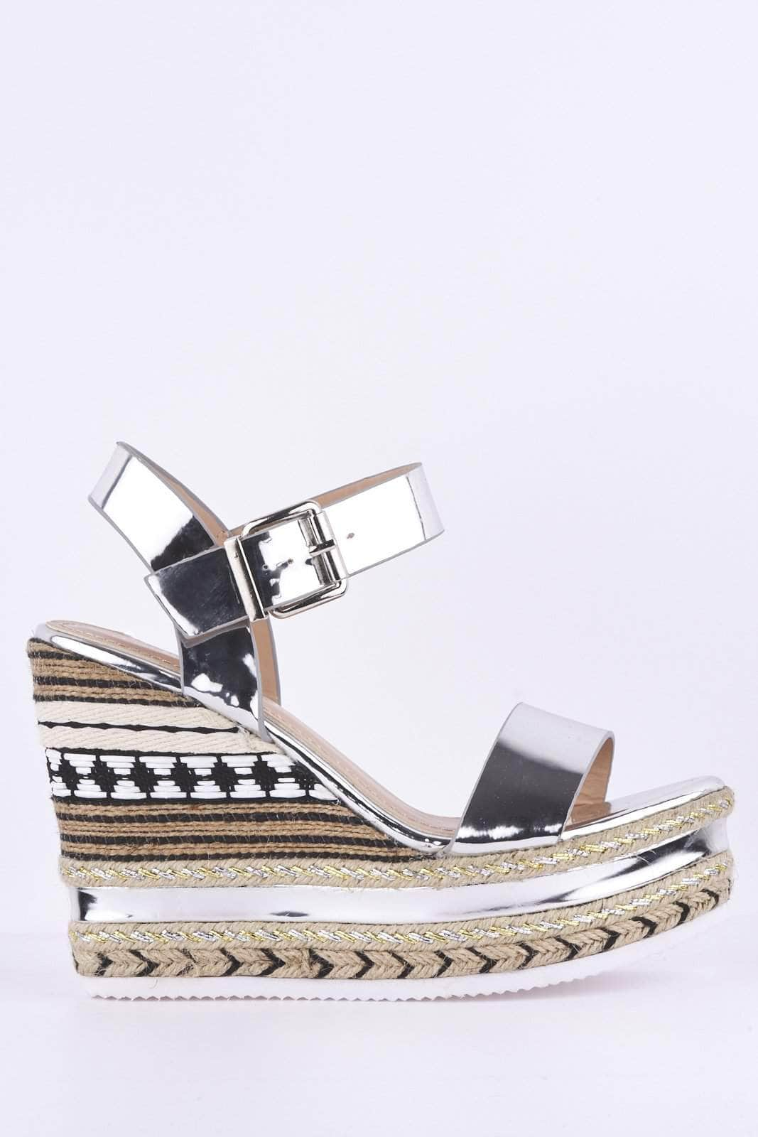 Silver Metallic with Patterned Wedge Sandals