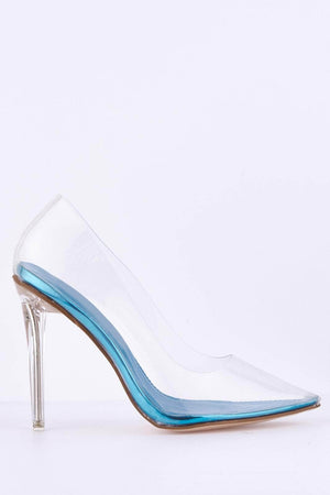 Perspex Court Heels with Blue Sole