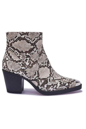 Off-White Snake Western Ankle Boots with Metal Toe Cap