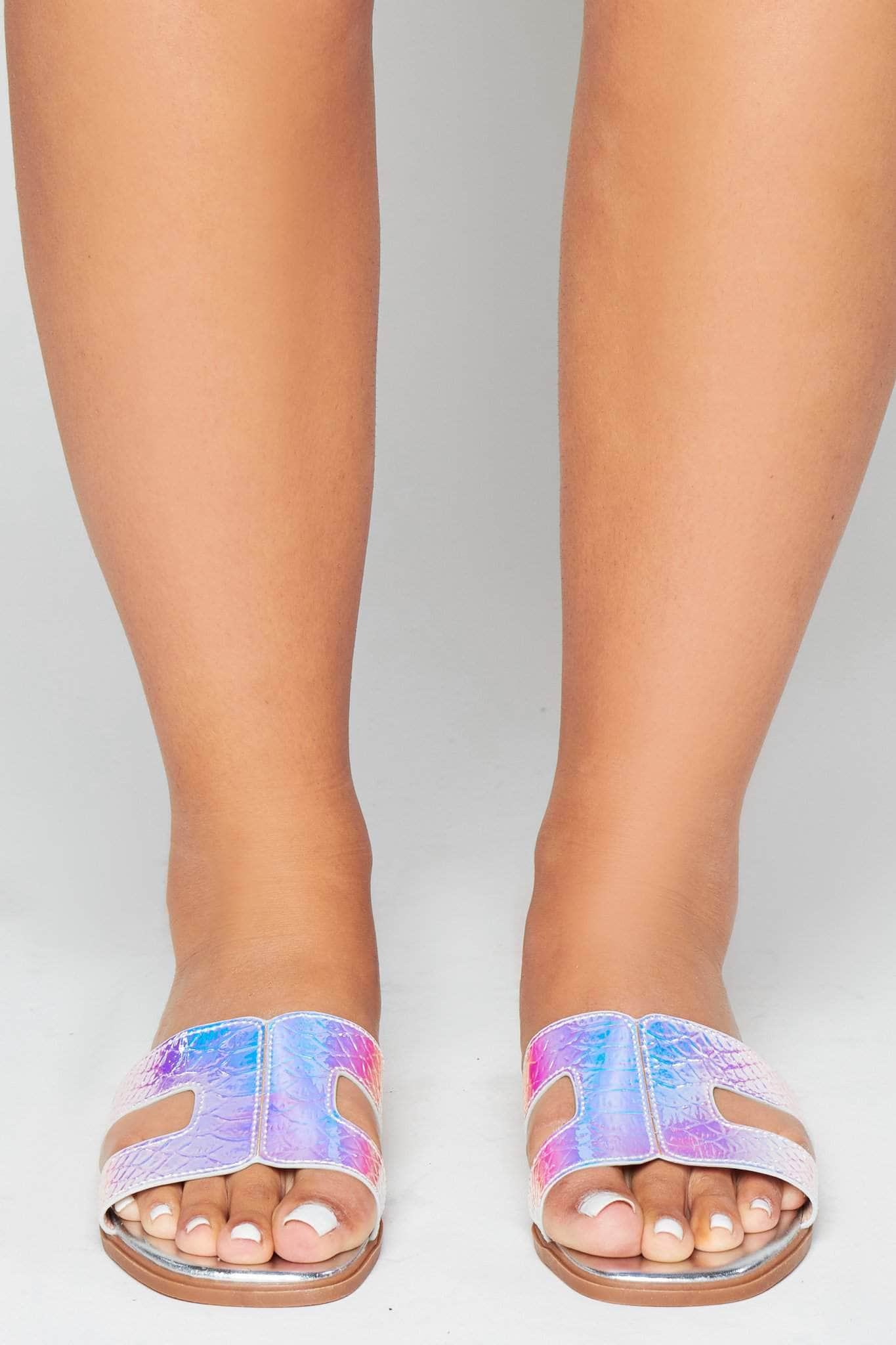 Silver Holographic Snake Cut Out Sliders